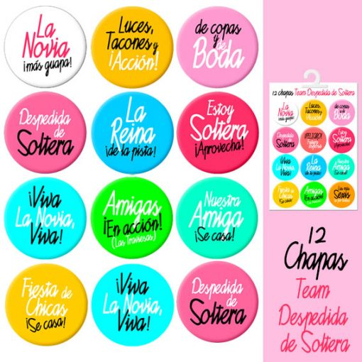 Chapas Variadas Team Despedida Soltera Rosa Paradise Events
